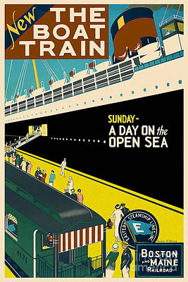 Boston Vintage Travel Poster Print by Jon Neidert