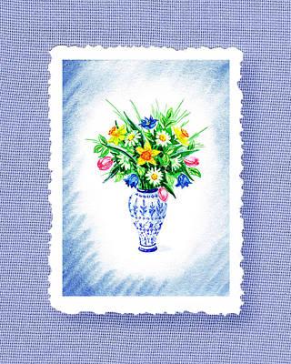 Daffodils Painting - Botanical Impressionism Flowers Bouquet by Irina Sztukowski