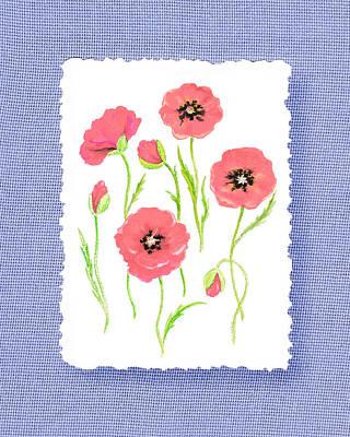 Poppies Fine Art Painting - Botanical Impressionism Pink Poppies Bouquet by Irina Sztukowski