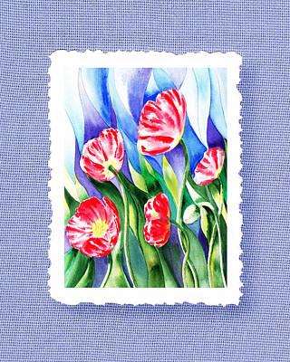 Glass Vase Painting - Botanical Impressionism Poppies In The Wind by Irina Sztukowski