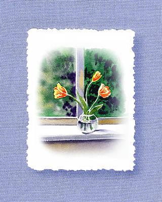 Glass Vase Painting - Botanical Impressionism Tulip Bouquet by Irina Sztukowski