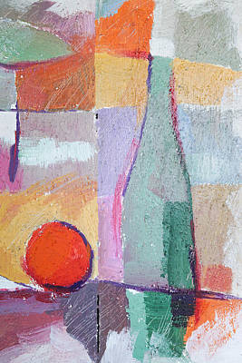 Bottle Of Wine Painting - Bottle And Orange by Lutz Baar