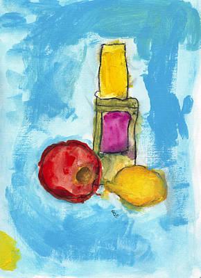 Bottle Apple And Lemon Print by Skip Nall