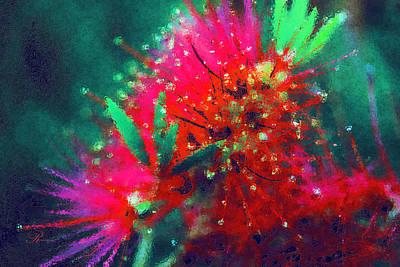 Abstract Realism Digital Art - Bottle Brush Flower by Georgiana Romanovna