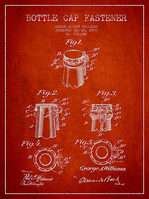Bottle Caps Drawing - Bottle Cap Fastener Patent Drawing From 1907 - Red by Aged Pixel