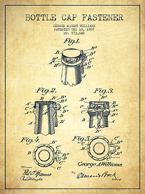 Bottle Caps Drawing - Bottle Cap Fastener Patent Drawing From 1907 - Vintage by Aged Pixel
