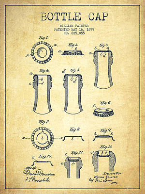 Bottle Caps Drawing - Bottle Cap Patent Drawing From 1899 - Vintage by Aged Pixel