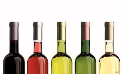 White Grape Digital Art - Bottles Of Wine by Bruno Haver