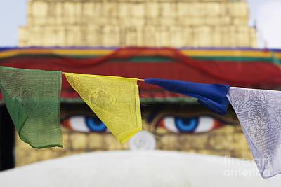 Boudhanath Stupa Prayer Flags Print by Tim Gainey