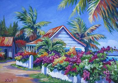 Acrylic Painting - Bougainvillea Cottage by John Clark