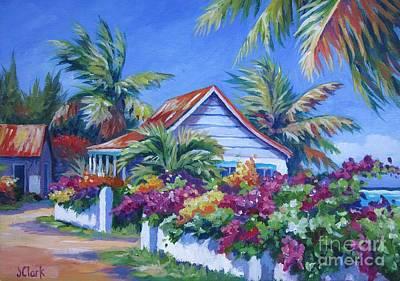 Bahamas Landscape Painting - Bougainvillea Cottage by John Clark