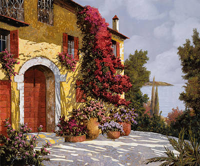 Red Flower Painting - Bouganville by Guido Borelli