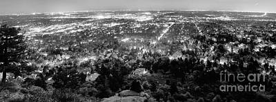 Black Photograph - Boulder Colorado City Lights Panorama  Black And White by James BO  Insogna
