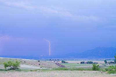 Night Photograph - Boulder Colorado Lightning Strike by James BO  Insogna