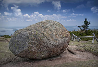 Cadilac Photograph - Boulder On Top Of Cadilac Mountain In Acadia National Park by Randall Nyhof