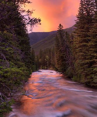 Forest Light Photograph - Boulder River Sunset by Leland D Howard