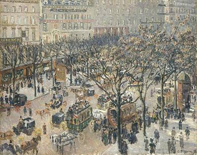 Looking Down Painting - Boulevard Des Italiens Morning Sunlight by Camille Pissarro