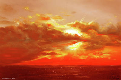 Bound Of Glory - Red Sunset  Print by Gina De Gorna