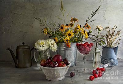 Zinnias Photograph - Bountiful by Elena Nosyreva
