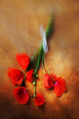 Bouquet Of Red Poppies And White Ribbon Print by Jaroslaw Blaminsky