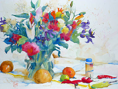 Bouquet And Red Peppers Original by Andre MEHU
