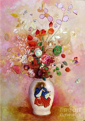 In Bloom Painting - Bouquet Of Flowers In A Japanese Vase by Odilon Redon