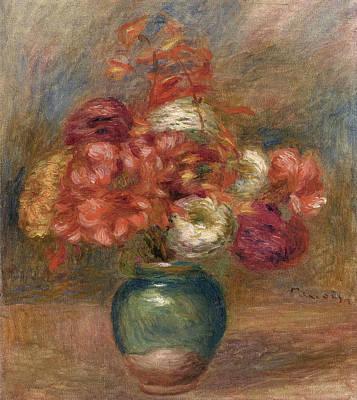 Pierre-auguste Renoir Painting - Bouquet Of Flowers In Green Vase by Pierre-Auguste Renoir