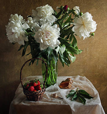 Baskets Photograph - Bouquet Peonies Flowers by Vitaliy Gladkiy