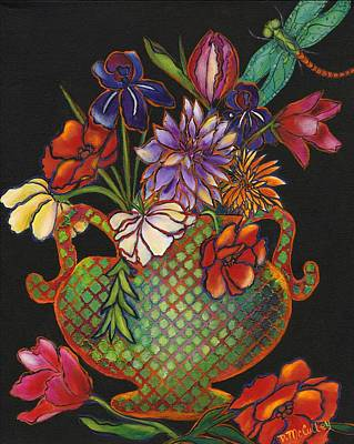 Bouquet With Dragonfly Print by Debbie McCulley