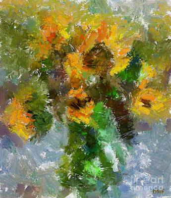 Colorful Painting - Bouquet With Sunflowers by Dragica  Micki Fortuna