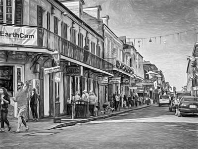 Cat Photograph - Bourbon Street Afternoon - Paint Bw by Steve Harrington