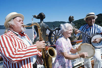 Steamboat Photograph - Bourbon Street Jazz Band On The Mississippi Queen 1976 by The Harrington Collection