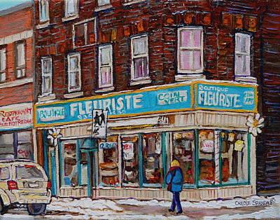 Montreal Buildings Painting - Boutique Fleuriste Coin Vert Montreal by Carole Spandau