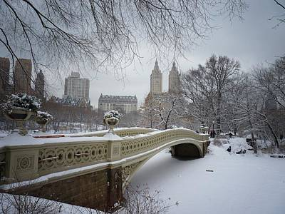 City Skyline Photograph - Bow Bridge Central Park In Winter  by Vivienne Gucwa