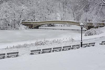 Landscape Photograph - Bow Bridge Central Park Winter Wonderland by Susan Candelario