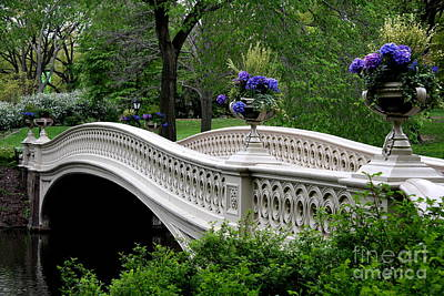 Relief Photograph - Bow Bridge Flower Pots - Central Park N Y C by Christiane Schulze Art And Photography