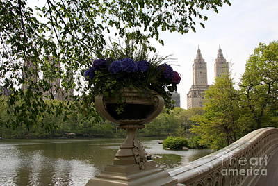 Bow Bridge Flowerpot And San Remo Nyc Print by Christiane Schulze Art And Photography