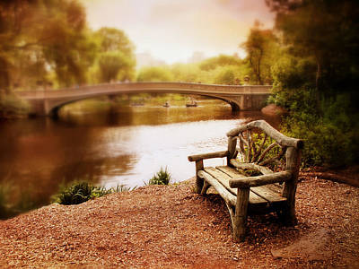 Benches Digital Art - Bow Bridge Nostalgia 2 by Jessica Jenney
