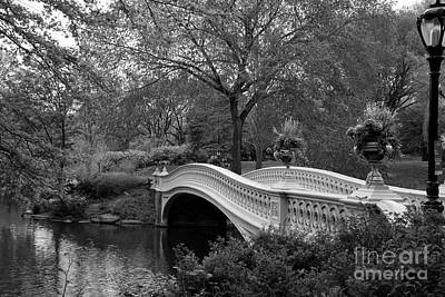 Bow Bridge Nyc In Black And White Print by Christiane Schulze Art And Photography