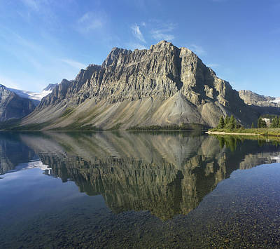 Bow Lake And Crowfoot Mts Banff Print by Tim Fitzharris