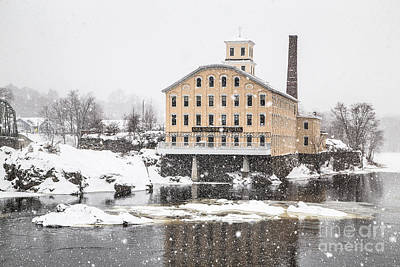 Bowdoin Mill In Heavy Snow Print by Benjamin Williamson