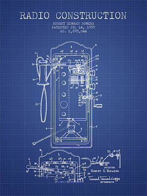 Bowers Radio Construction Patent From 1959 - Blueprint Print by Aged Pixel