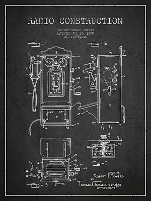 Bowers Radio Patent Drawing From 1959 - Dark Print by Aged Pixel