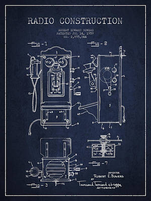 Bowers Radio Patent Drawing From 1959 - Navy Blue Print by Aged Pixel