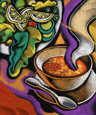 Lettuce Painting - Bowl Of Soup by Leon Zernitsky