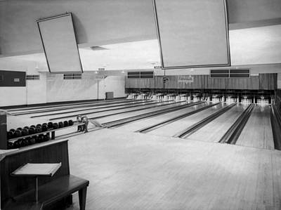 Bowling Alley Interior Print by Underwood Archives