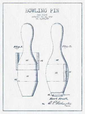 Bowling Digital Art - Bowling Pin Patent Drawing From 1938 - Blue Ink by Aged Pixel