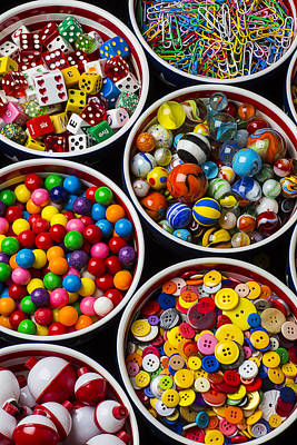 Bowls Of Buttons And Marbles Print by Garry Gay