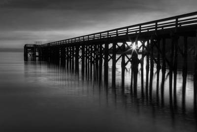 Ocean Photograph - Bowman Bay Pier Sunset- Black And White by Mark Kiver