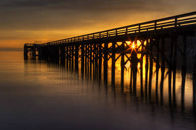 Bowman Bay Pier Sunset Print by Mark Kiver